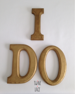 I DO Wood Letters in Gold