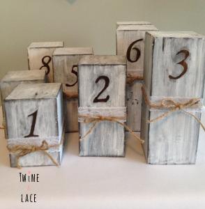 Wood Block Wedding Table Numbers